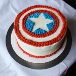 Coconut Cake with Pineapple filling and Captain America Insignia