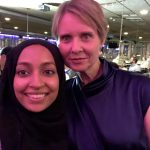 With fellow Barnard alum Cynthia Nixon